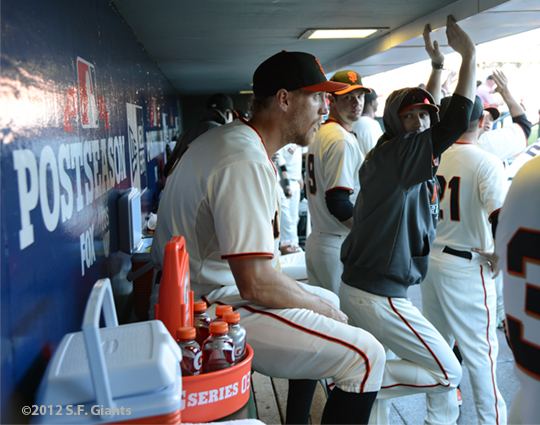 sf giants, san francisco giants, photo, 10/14/2012, nlcs game 1, hunter pnece, brandon belt, tim lincecum