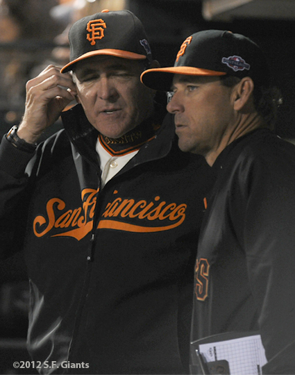 sf giants, san francisco giants, photo, 10/14/2012, nlcs game 1, dave righetti, mark gardner