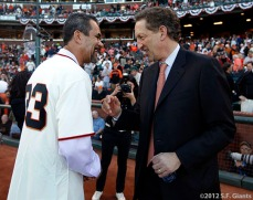 San Francisco Giants, S.F. Giants, photo, 2012, NLCS, Benito Santiago and Larry Baer