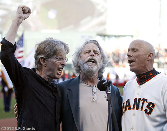 San Francisco Giants, S.F. Giants, photo, 2012, NLCS, Phil Lesh, Bob Wier and Tim Flannery