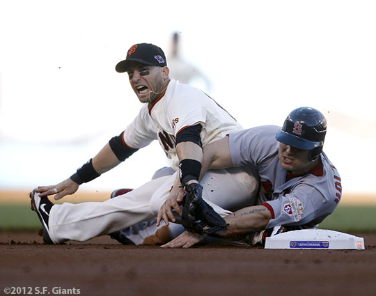 San Francisco Giants, S.F. Giants, photo, 2012, NLCS, Marco Scutaro and Matt Holliday