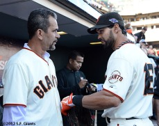 San Francisco Giants, S.F. Giants, photo, 2012, NLCS, Benito Santiago and Angel Pagan