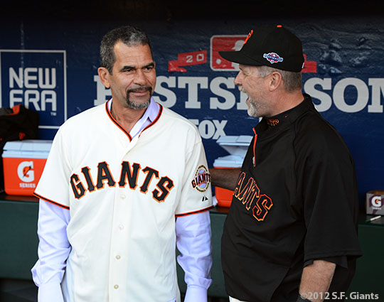 San Francisco Giants, S.F. Giants, photo, 2012, NLCS, Benito Santiago and Bill Hayes