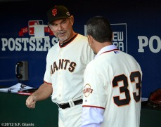 San Francisco Giants, S.F. Giants, photo, 2012, NLCS, Bruce Bochy and Benito Santiago