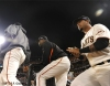 San Francisco Giants, S.F. Giants, photo, 2012, NLCS, Guillermo Mota and Hector Sanchez
