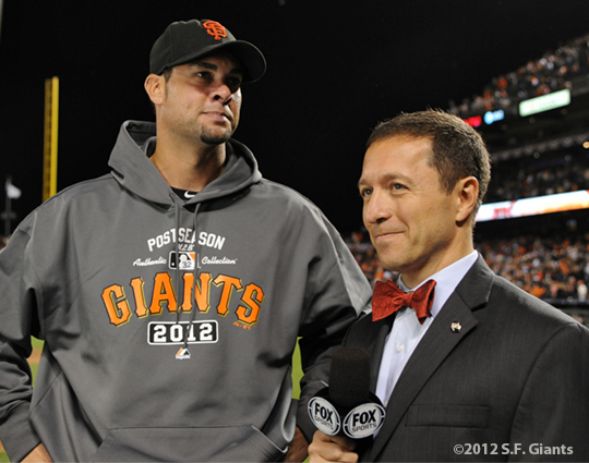 San Francisco Giants, S.F. Giants, photo, 2012, NLCS, Ryan Vogelsong and Ken Rosenthal