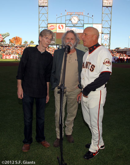 San Francisco Giants, S.F. Giants, photo, 2012, NLCS, Phil Lesh, Bob Weir and Tim Flannery