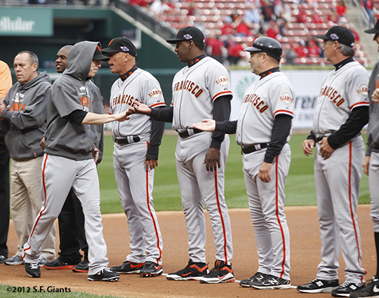 sf giants, san francisco giants, photo, nlcs, 2012, tim incecum, ron wouts, joe lefebvre, bambam meulens, tim flannery