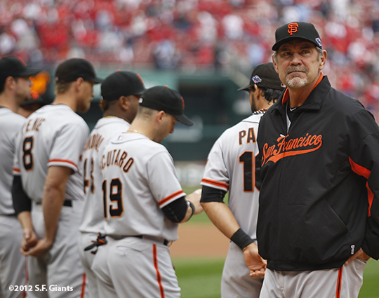 sf giants, san francisco giants, photo, 10/17/2012, nlcs game 3, bruce bochy, team