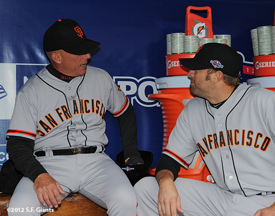 sf giants, san francisco giants, photo, nlcs, 2012, tim flannery, jeremy affeldt