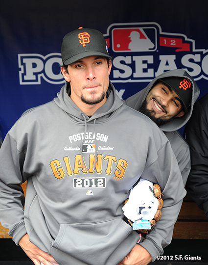 sf giants, san francisco giants, photo, 10/17/2012, nlcs game 3, javier lopez, sergio romo