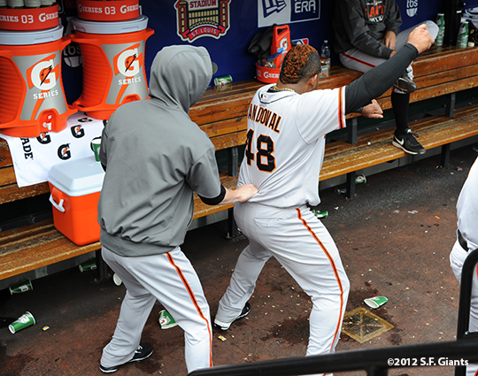 sf giants, san francisco giants, photo, 10/17/2012, nlcs game 3, tim lincecum, pablo sandoval