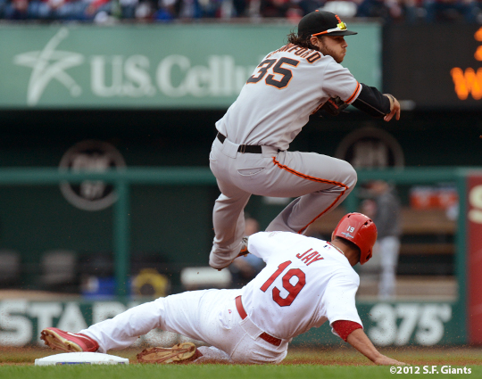 sf giants, san francisco giants, photo, 10/17/2012, nlcs game 3, johy jay, brandon crawford
