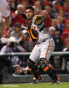 sf giants, san francisco giants, photo, 10/18/2012, nlcs game 4, hector sanchez