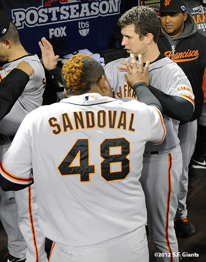 sf giants, san francisco giants, photo, 10/18/2012, nlcs game 4, pablo sandoval, buster posey