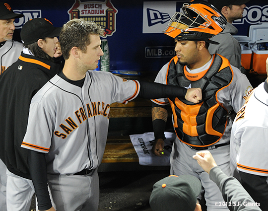 sf giants, san francisco giants, photo, 10/18/2012, nlcs game 4, buster posey, hector sanchez