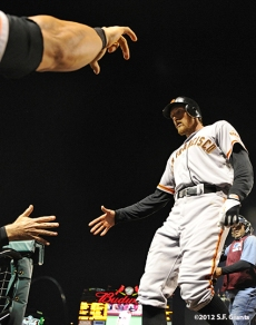 sf giants, san francisco giants, photo, 10/18/2012, nlcs game 4, hunter pence