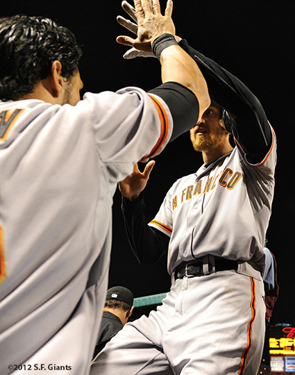 sf giants, san francisco giants, photo, nlcs, 2012, angel pagan, hunter pence
