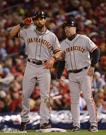 sf giants, san francisco giants, photo, 10/18/2012, nlcs game 4, angel pagan, joe lefebvre