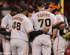 sf giants, san francisco giants, photo, nlcs, 2012, pablo sandoval, george kontos, hector sanchez, joaquin arias, marco scutaro, brandon belt