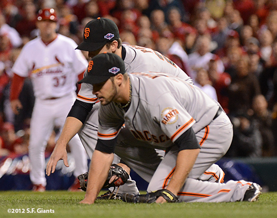 sf giants, san francisco giants, photo, nlcs, 2012, george kontos, buster posey