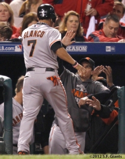 sf giants, san francisco giants, photo, 2012, nlcs, gregor blanco