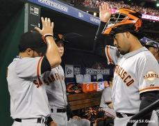 sf giants, san francisco giants, photo, nlcs, 2012, gregor blanco, hector sanchez