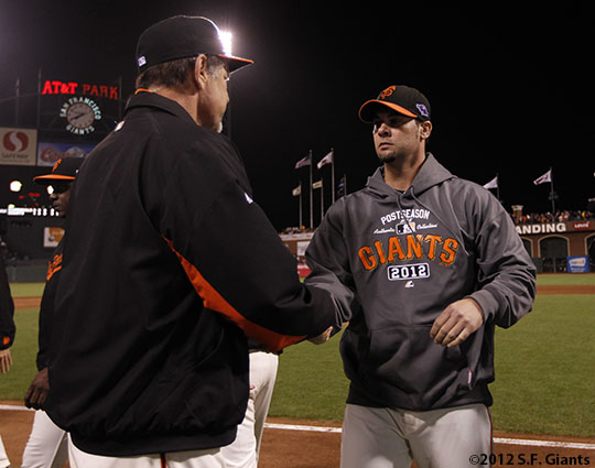 sf gaints, san francisco giants, photo, 10/21/2012, nlcs game 6, bruce bochy, ryan vogelsong