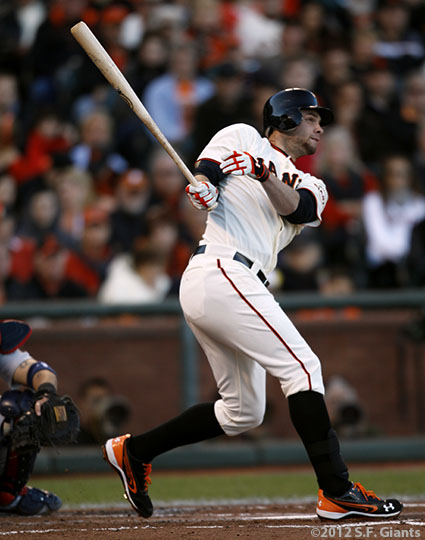 sf gaints, san francisco giants, photo, 10/21/2012, nlcs game 6, brandon belt