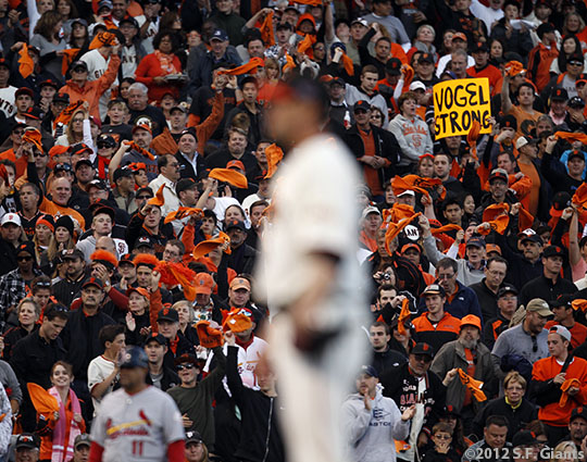 sf gaints, san francisco giants, photo, 10/21/2012, nlcs game 6, fans, ryan vogelsong