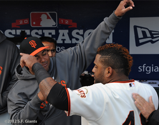 San Francisco Giants, S.F. Giants, photo, 2012, NLCS, Jean Machi and Pablo Sandoval