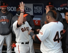 sf gaints, san francisco giants, photo, 10/21/2012, nlcs game 6, gregor blanco, Pablo sandoval