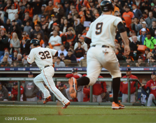 sf gaints, san francisco giants, photo, 10/21/2012, nlcs game 6, ryan vogelsgon, brandon belt