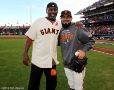 San Francisco Giants, S.F. Giants, photo, 2012, NLCS, Jeffrey Leonard and Sergio Romo