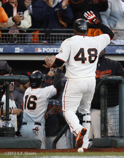 sf giants, san francisco giants, photo, 10/22/2012, nlcs game 7, clinch, team, pablo sandoval