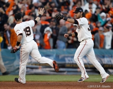 sf giants, san francisco giants, photo, 10/22/2012, nlcs game 7, clinch, marcos cutaro, brandon crawford