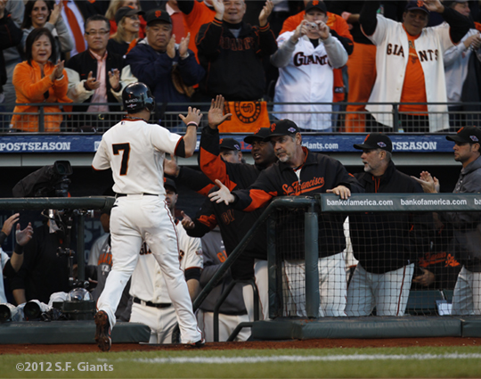 sf giants, san francisco giants, photo, 10/22/2012, nlcs game 7, clinch, gregor blanco, bruce bovhy, team