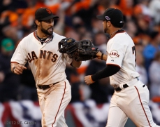 sf giants, san francisco giants, photo, 10/22/2012, nlcs game 7, clinch, angel pagan, gregor blanco