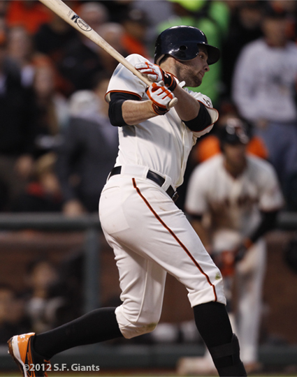 sf giants, san francisco giants, photo, 10/22/2012, nlcs game 7, clinch, brandon belt