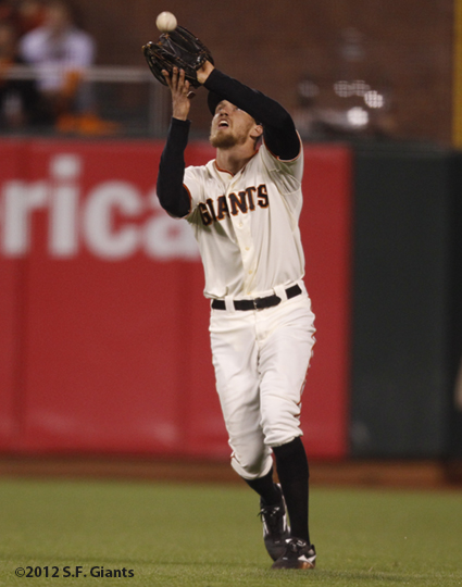 sf giants, san francisco giants, photo, 10/22/2012, nlcs game 7, clinch, hunter pence