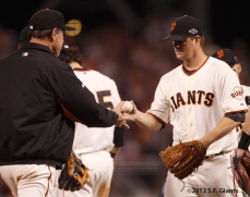 sf giants, san francisco giants, photo, 10/22/2012, nlcs game 7, clinch, bruce bochy, matt cain