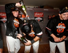 San Francisco Giants, S.F. Giants, photo, 2012, NLCS, Ron Wotus, Brandon Crawford and Eli Whiteside