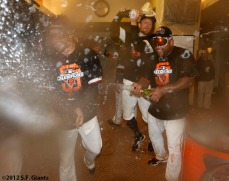 San Francisco Giants, S.F. Giants, photo, 2012, NLCS, Xavier Nady, Hunter Pence and Pablo Sandoval