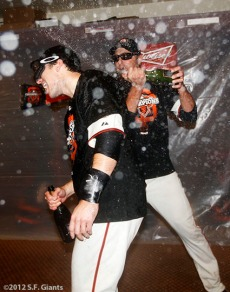 Buster Posey and Jeremy Affeldt