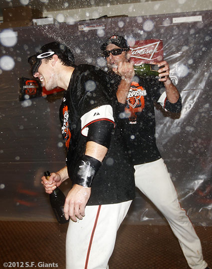 San Francisco Giants, S.F. Giants, photo, 2012, NLCS, Buster Posey and Jeremy Affeldt