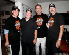 San Francisco Giants, S.F. Giants, photo, 2012, NLCS, Bobby Evans, Brian Sabean, Bruce Bochy and Dick Tidrow
