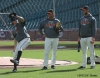 San Francisco Giants, S.F. Giants, photo, 2012, NLCS, Ryan Theriot, Mark Gardner and Madison Bumgarner