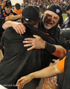 San Francisco Giants, S.F. Giants, photo, 2012, NLCS, Pablo Sandoval and Bill Hayes