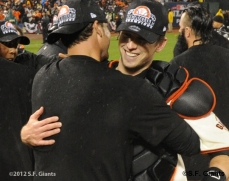 sf giants, san francisco giants, photo, 10/22/2012, nlcs game 7, clinch, buster posey