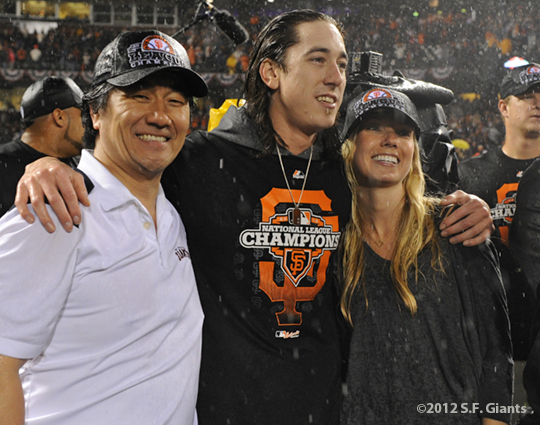 sf giants, san francisco giants, photo, 10/22/2012, nlcs game 7, clinch, tim lincecum